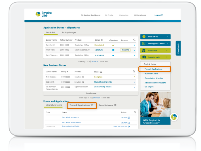 Screenshot of the Retail Advisor portal showing the 2 ways to access the forms search function