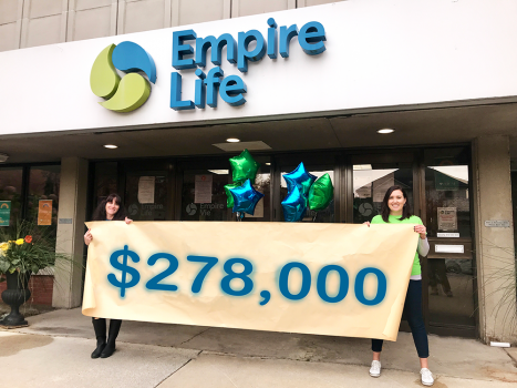 Empire Life United Way campaign co-chairs Renée Belzile and Sarah Hogeboom announce the company's campaign total while maintaining a safe distance in front of the company's head office in Kingston, Ontario
